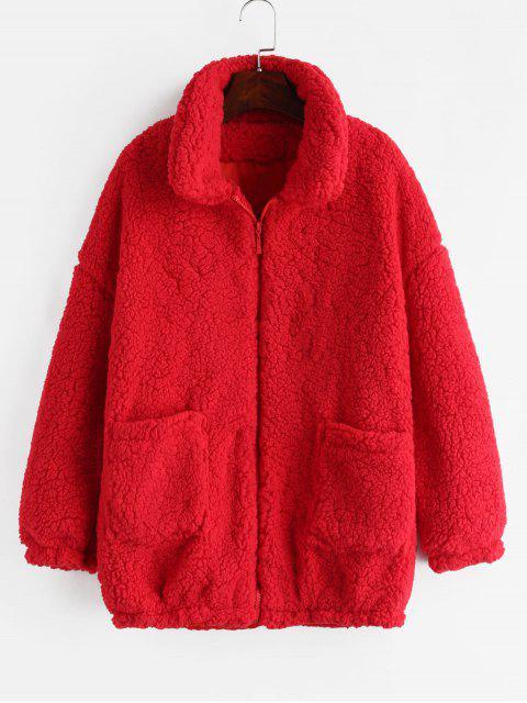 Fluffy Kunstpelz Wintermantel - Rot M Mobile