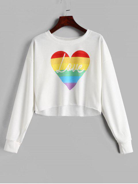 Drop Shoulder Graphic Kurzes Sweatshirt - Weiß L Mobile
