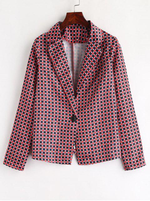 sale One Buttoned Plaid Blazer - LAVA RED L Mobile