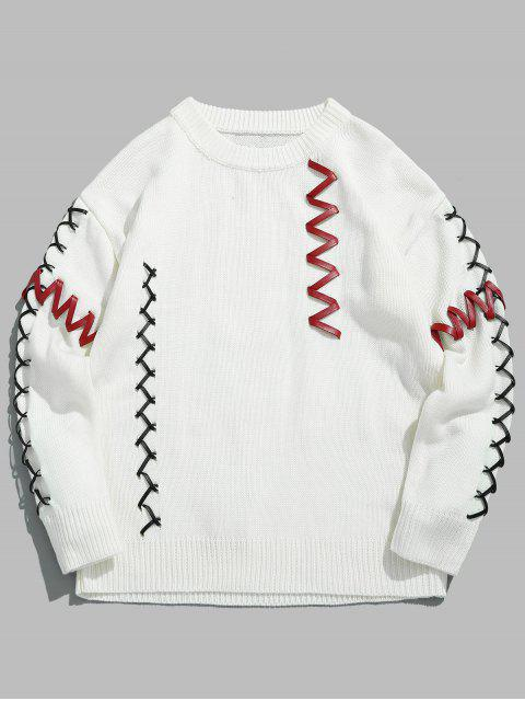 fashion PU Belt Embellished Pullover Sweater - WHITE M Mobile