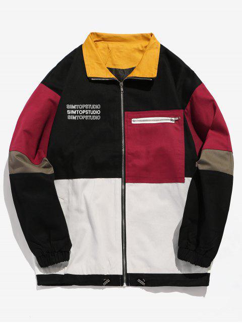 unique Contrast Letter Pockets Loose Jacket - BLACK M Mobile