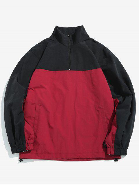 best Color Block Embellish Pullover Lightweight Jacket - CHERRY RED S Mobile