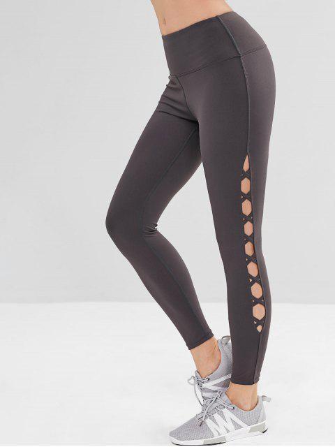women's Criss Cross Wide Waistband Sports Leggings - JET GRAY L Mobile