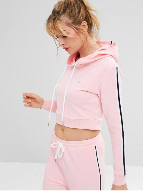 ZAFUL Striped Side Crop Hoodie - Rosado L Mobile