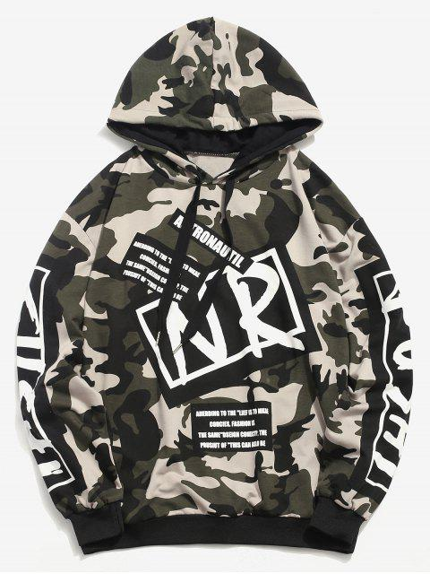 women's Letter Graphic Camo Hoodie - CAMOUFLAGE GREEN L Mobile