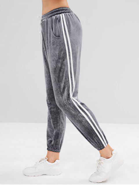 Pantalon de Jogging Doux à Côté Contrasté en Velours - Gris S Mobile