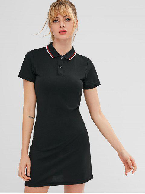 best ZAFUL Polo Collar Mini Athletic Dress - BLACK L Mobile