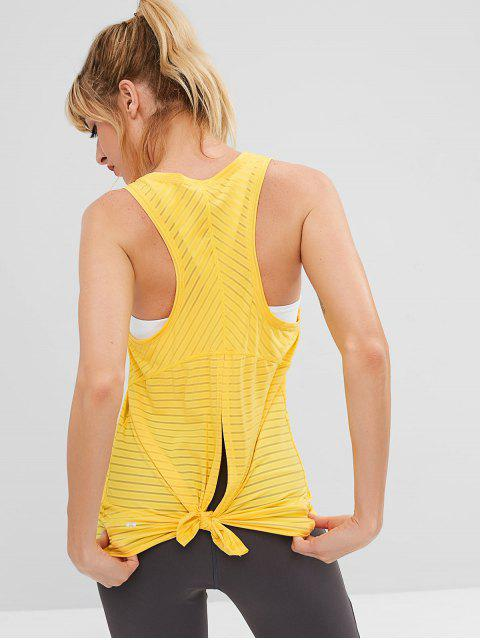 affordable ZAFUL Back Slit Racerback Sports Tank Top - YELLOW L Mobile