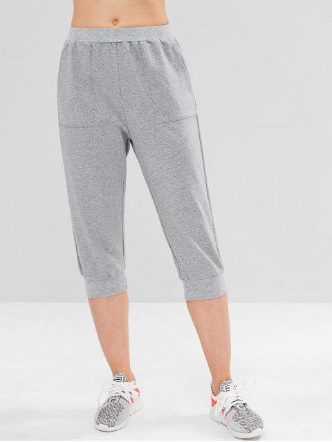ZAFUL Pantalones Recortados de Bolsillo - Nube Gris M Mobile