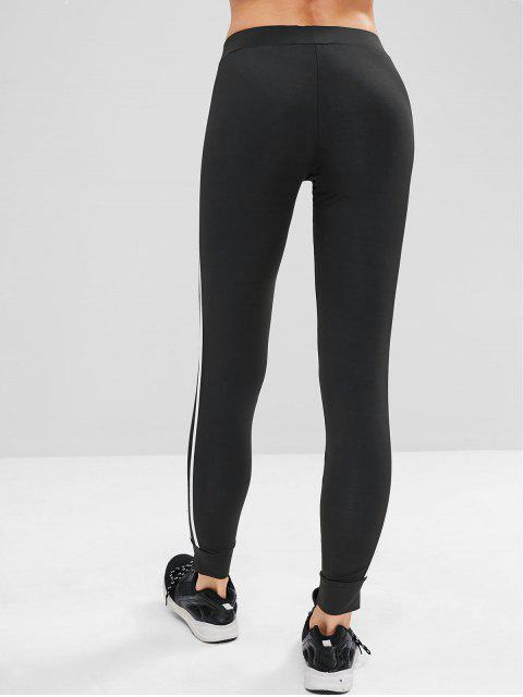 Pantalones de chándal de gimnasio lateral de contraste - Negro S Mobile