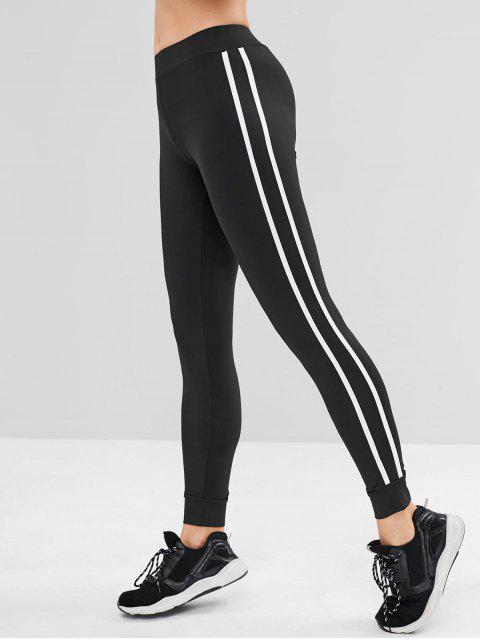 ladies Contrast Side Sports Gym Jogger Pants - BLACK M Mobile