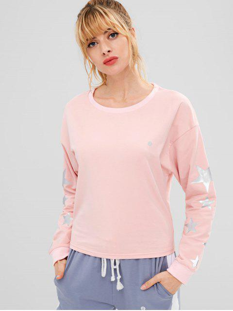 chic ZAFUL Drop Shoulder Star Sweatshirt - LIGHT PINK L Mobile