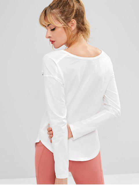 best ZAFUL Lace Up Drop Shoulder Asymmetrical T-shirt - WHITE M Mobile