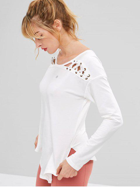 online ZAFUL Lace Up Drop Shoulder Asymmetrical T-shirt - WHITE S Mobile