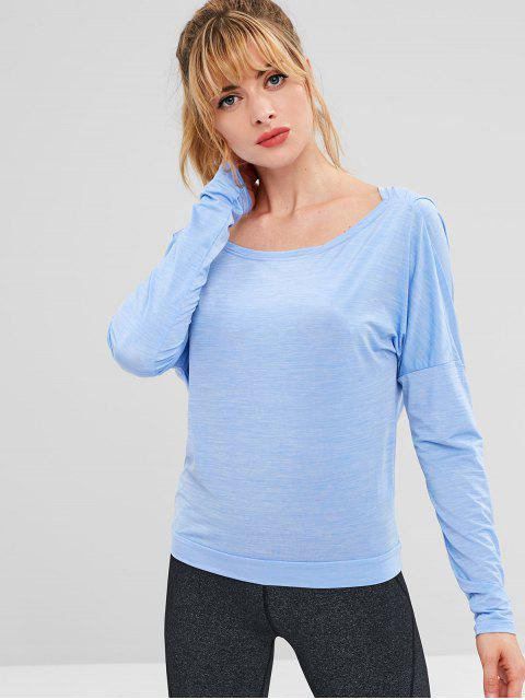 sale ZAFUL Heather Open Back T-shirt - BUTTERFLY BLUE L Mobile