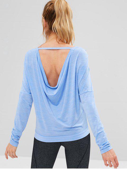 ZAFUL Heidekraut T-Shirt mit Offenem Rücken - Schmetterling Blau S Mobile