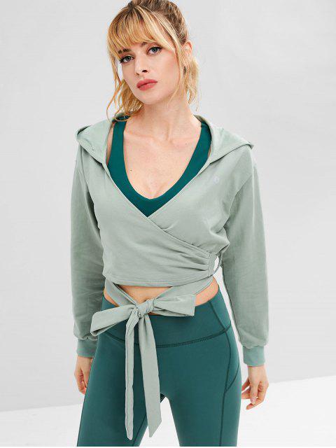 womens ZAFUL Drop Shoulder Wrap Short Hoodie - BLUE GREEN L Mobile