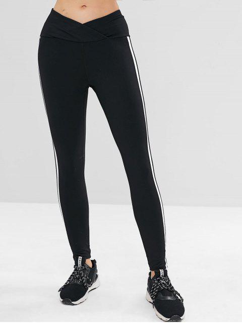 ladies Tulip Waist Striped Sports Leggings - BLACK S Mobile
