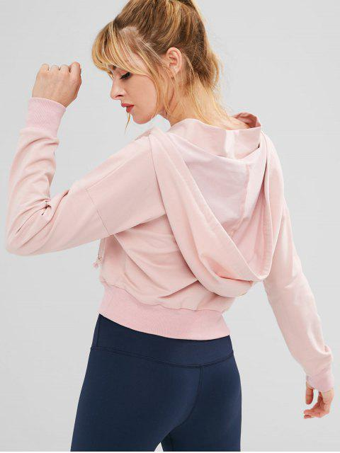 ZAFUL Kangaroo Pocket Crop Hoodie - Rosado L Mobile