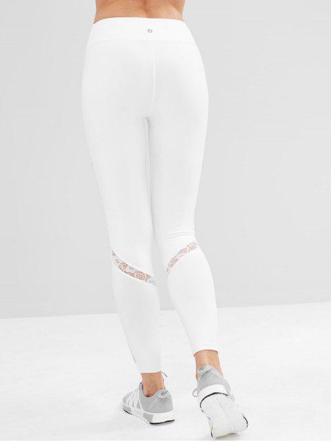 Leggings deportivos de cintura alta con inserción de encaje ZAFUL - Blanco L Mobile