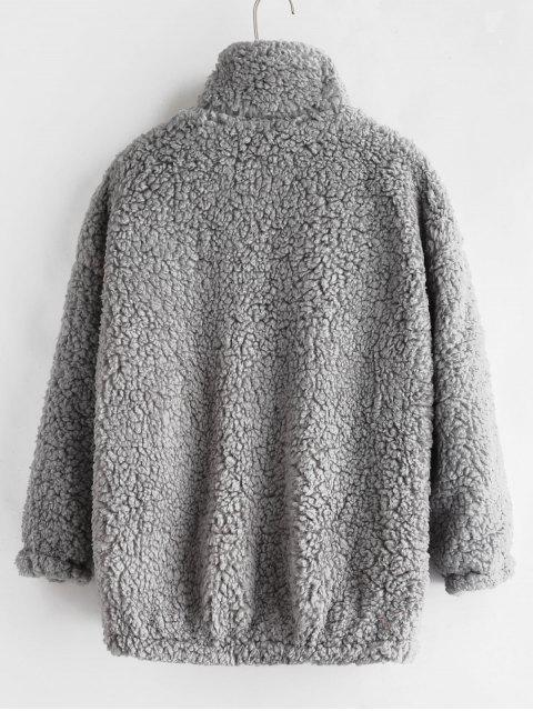 latest Fluffy Faux Fur Winter Teddy Coat - LIGHT GRAY M Mobile