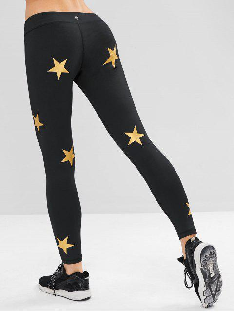 Leggings pitillo deportivos con estampado de estrellas ZAFUL - Negro S Mobile