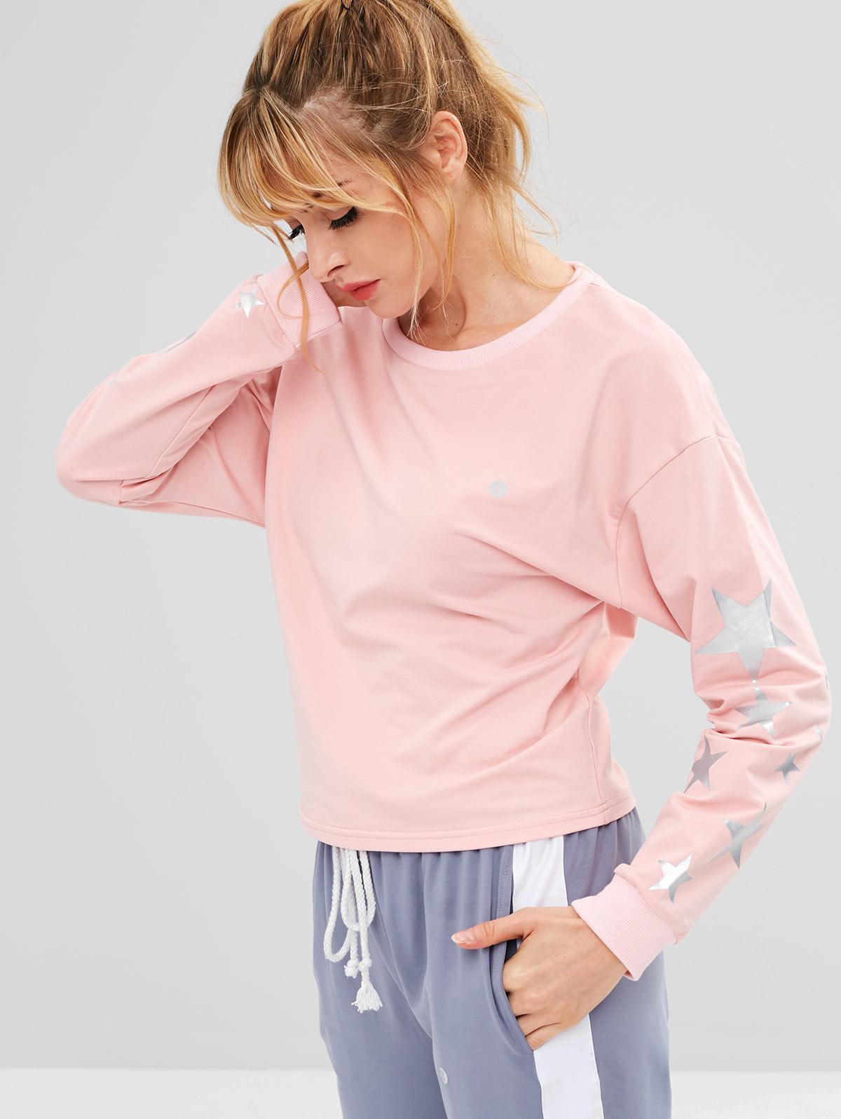 ZAFUL Drop Shoulder Star Sweatshirt