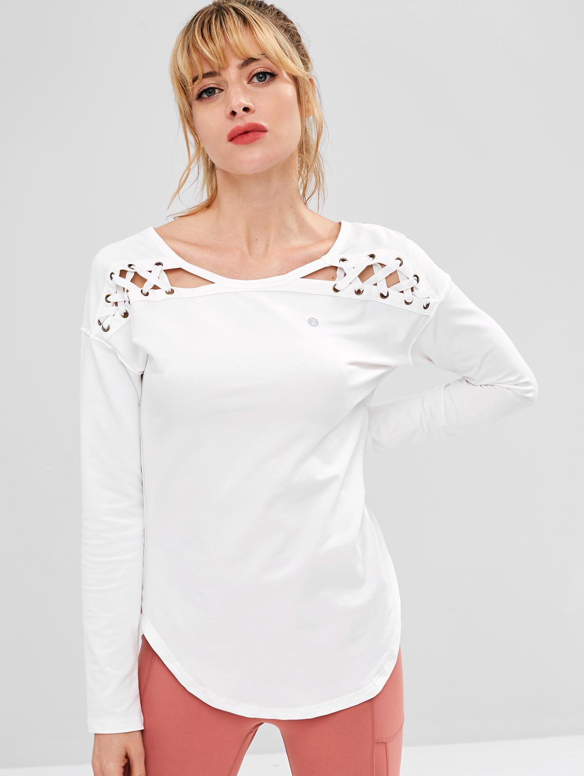 ZAFUL Lace Up Drop Shoulder Asymmetrical T-shirt