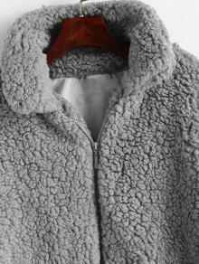 719613a7c5c 44% OFF] 2019 Fluffy Faux Fur Winter Teddy Coat In LIGHT GRAY | ZAFUL