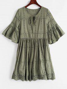 فستان Broderie Anglaise سموك - التمويه الأخضر Xl
