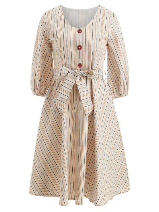 women Buttoned Striped A Line Dress - MULTI S