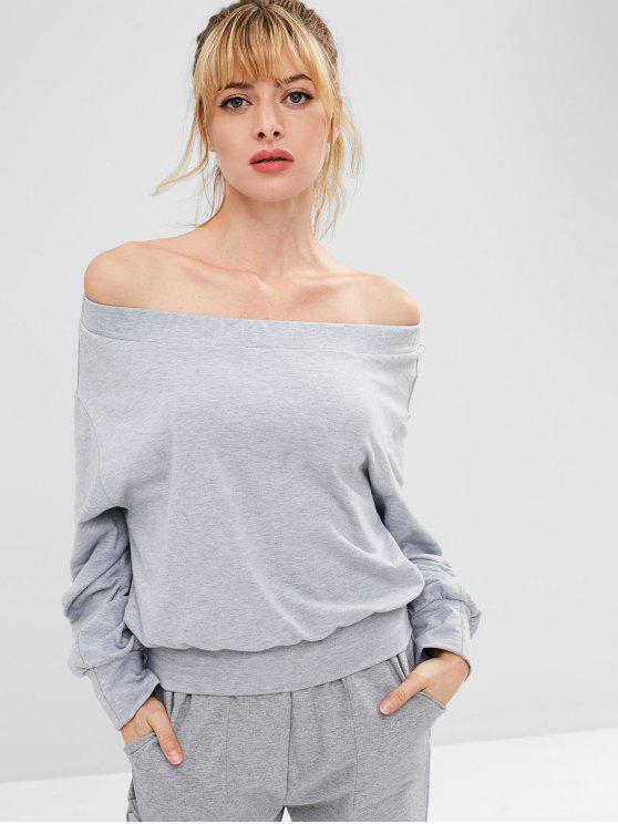 latest Off Shoulder Sports Drop Shoulder Sweatshirt - GRAY L