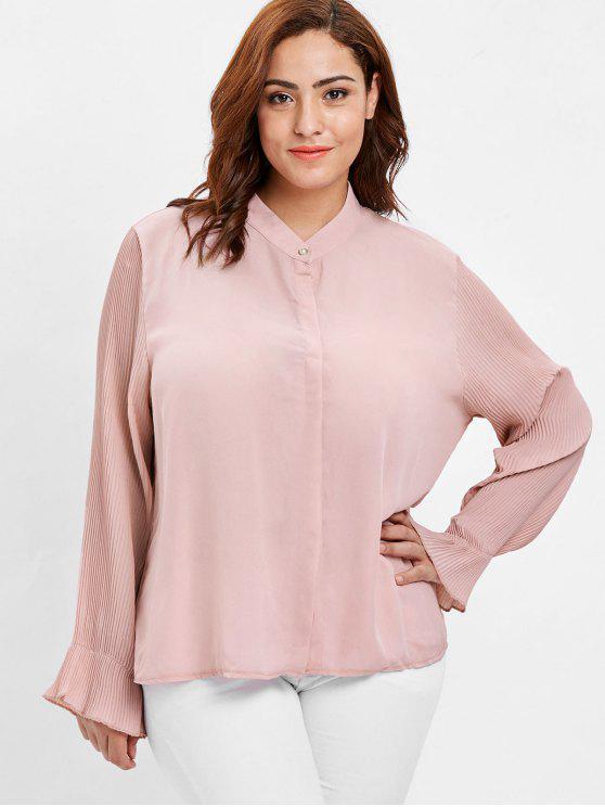 2018 Pleated Sleeve Plus Size Flowy Blouse In Pink 4x Zaful
