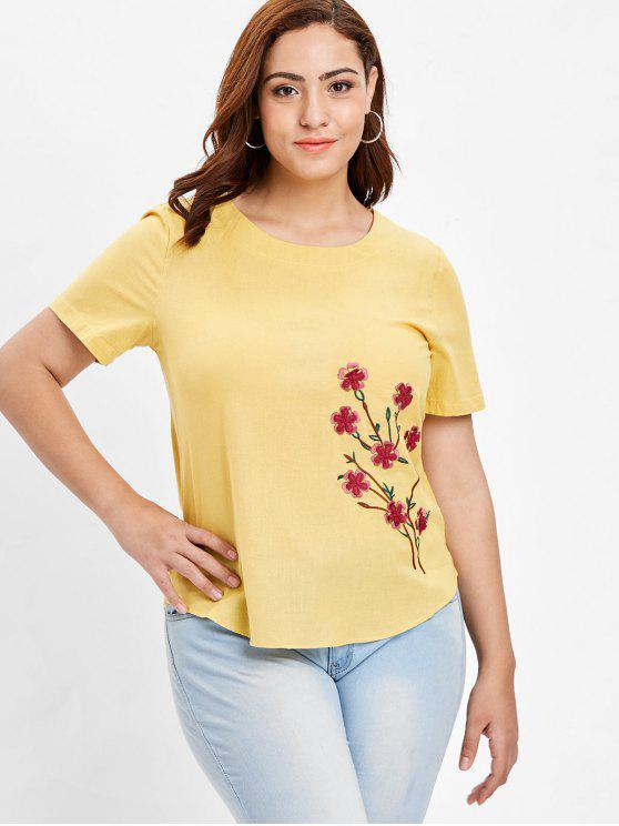 women Plus Size Floral Branch Embroidered Woven Top - YELLOW 4X