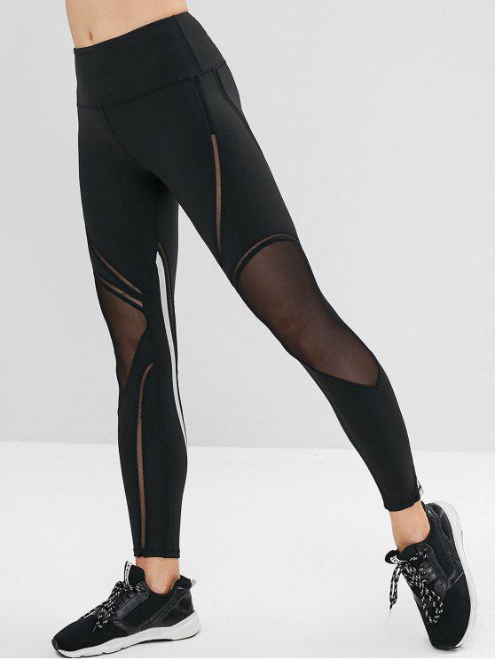 lady Striped Mesh Insert Gym Leggings - BLACK S