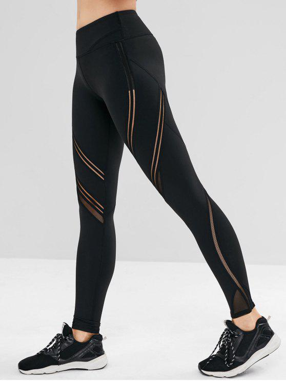 outfits Mesh Insert Wide Waistband Sports Leggings - BLACK M