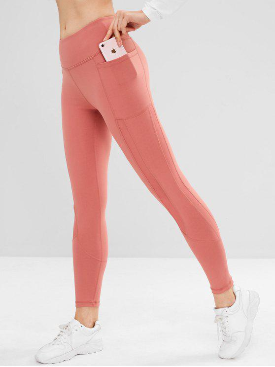 unique Pocket Mesh Insert Sports Leggings - PINK XL