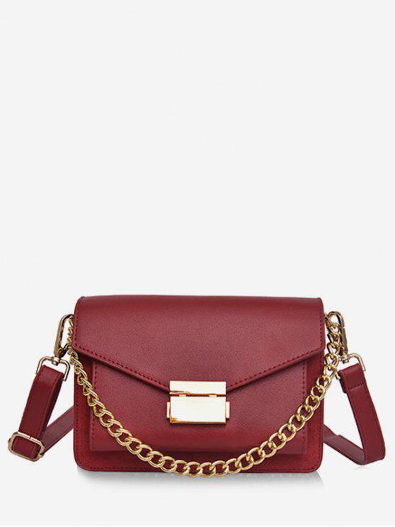 ladies Minimalist Chain Solid Crossbody Bag - RED