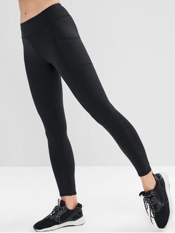 new Pocket Stitching Sports Leggings - BLACK S