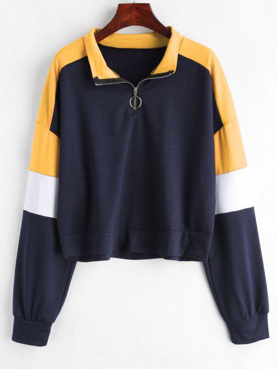 trendy Loose Color Block Half Zip Sweatshirt - MULTI-A L