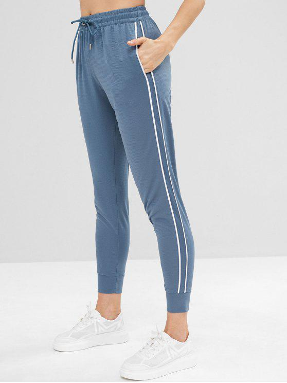 sale Perforated Striped Side Drawstring Pants - BLUE GRAY M