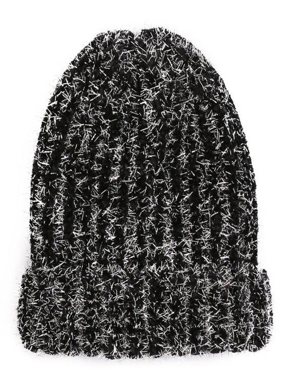 ladies Striped Flanging Knitted Ski Cap - BLACK