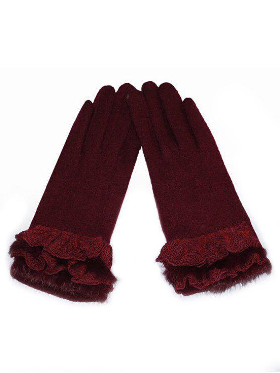 Luvas de inverno de dedo cheio de renda - Cor de Tijolo Refratário