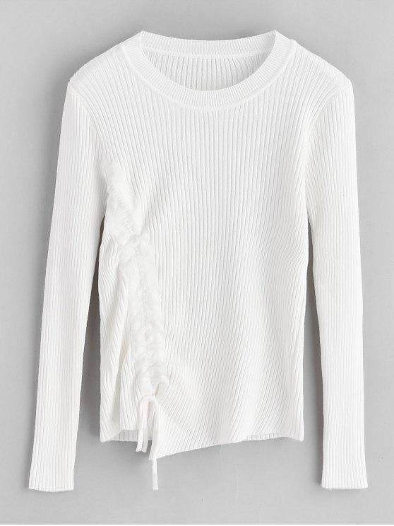 sale Ribbed Cinched Fitted Sweater - WHITE ONE SIZE