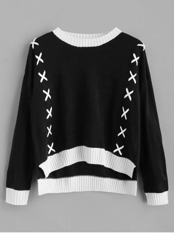 ladies Contrasting Crisscross Threaded Sweater - BLACK ONE SIZE