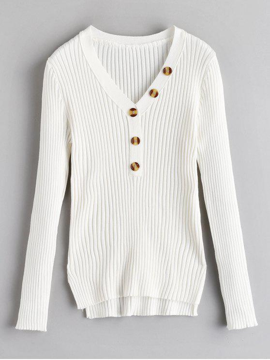best Button Embellished Ribbed High Low Sweater - WHITE ONE SIZE