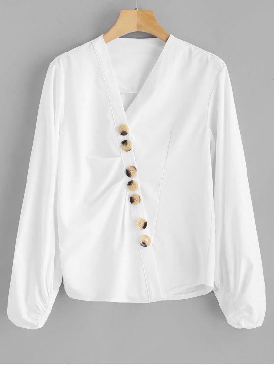 online Lantern Sleeve Buttoned Blouse - WHITE XL