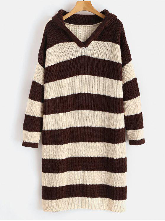outfit Hooded Striped Longline Sweater - MULTI ONE SIZE