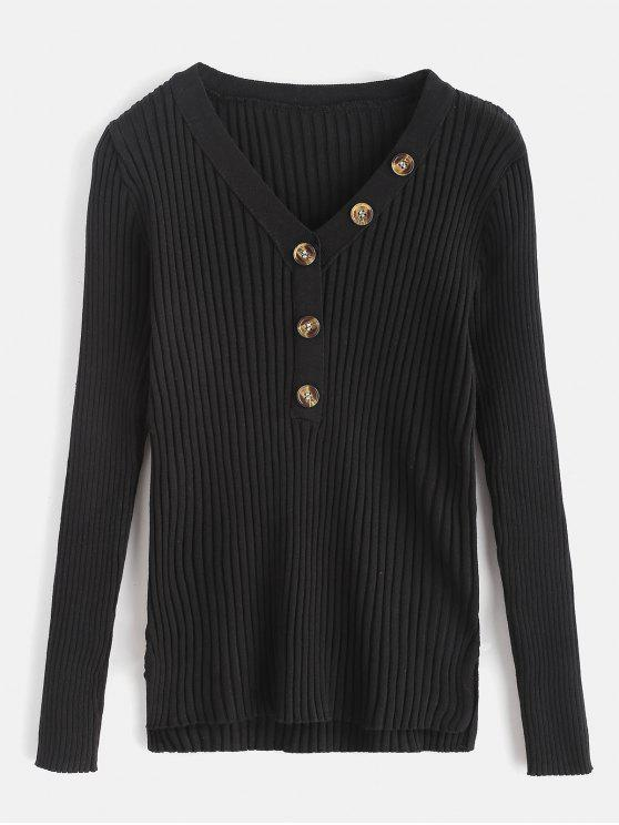 latest Button Embellished Ribbed High Low Sweater - BLACK ONE SIZE