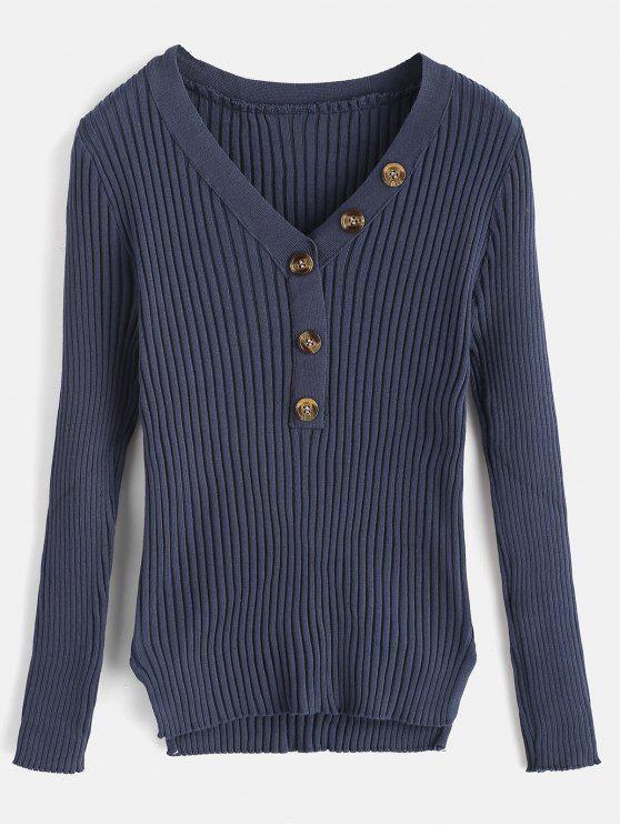 fashion Button Embellished Ribbed High Low Sweater - DARK SLATE BLUE ONE SIZE